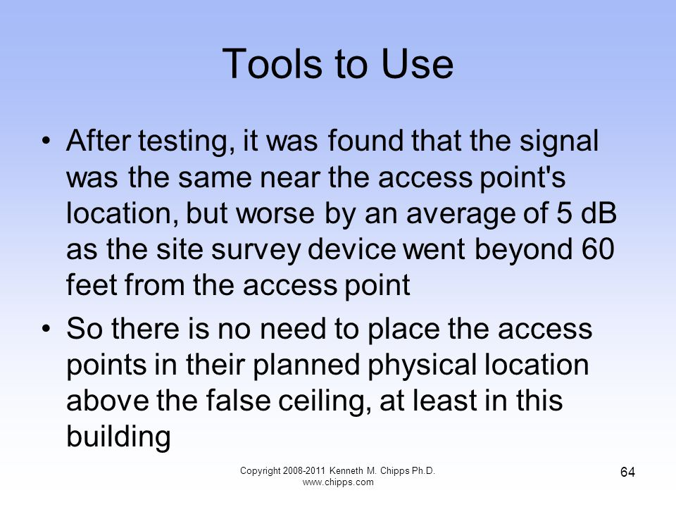 Tools to Use After testing, it was found that the signal was the same near the access point's location, but worse by an average of 5 dB as the site su