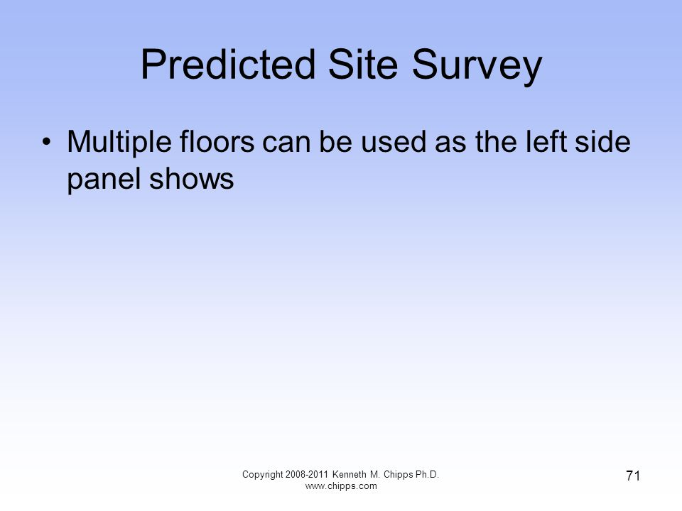 Predicted Site Survey Multiple floors can be used as the left side panel shows Copyright 2008-2011 Kenneth M.