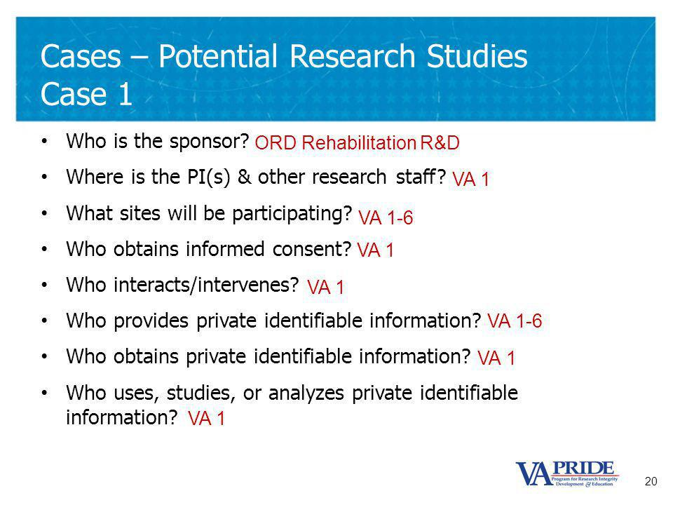 20 Cases – Potential Research Studies Case 1 Who is the sponsor.