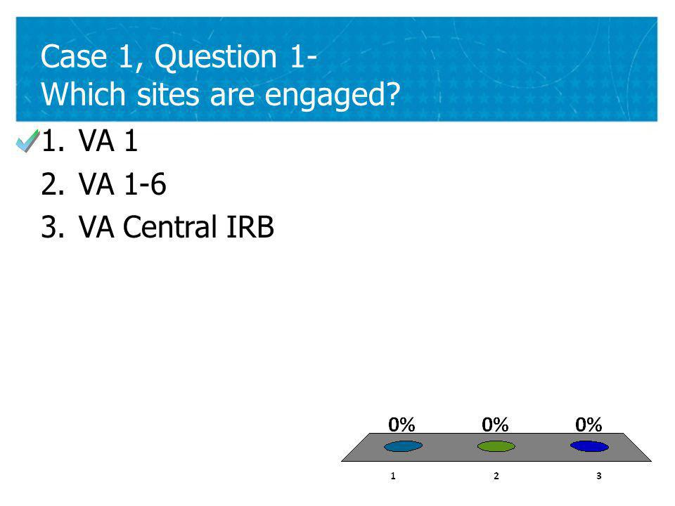 21 Case 1, Question 1- Which sites are engaged 1.VA 1 2.VA 1-6 3.VA Central IRB