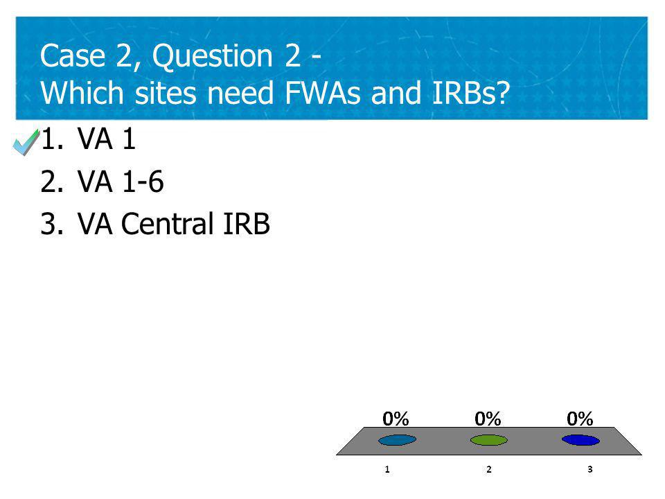 26 Case 2, Question 2 - Which sites need FWAs and IRBs 26 1.VA 1 2.VA 1-6 3.VA Central IRB