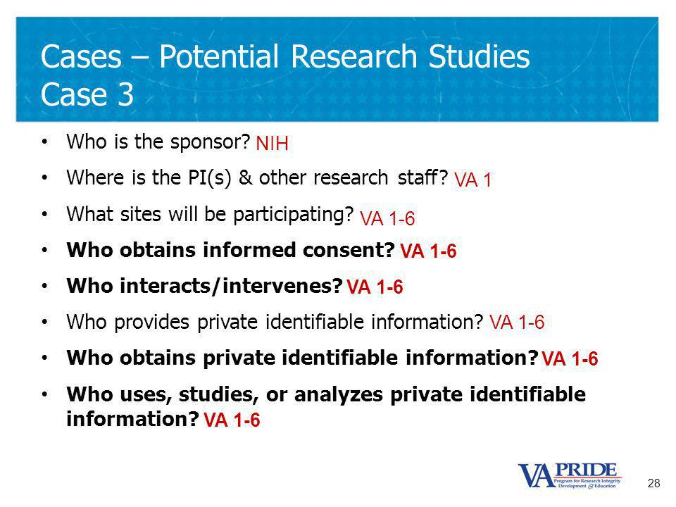 28 Cases – Potential Research Studies Case 3 Who is the sponsor.