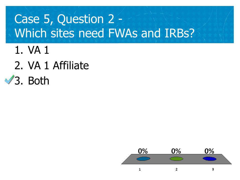 38 Case 5, Question 2 - Which sites need FWAs and IRBs 38 1.VA 1 2.VA 1 Affiliate 3.Both