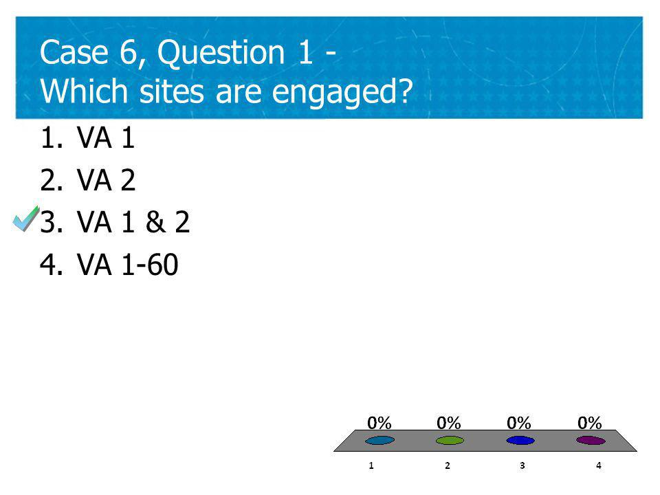43 Case 6, Question 1 - Which sites are engaged 43 1.VA 1 2.VA 2 3.VA 1 & 2 4.VA 1-60