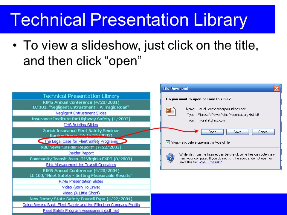 Technical Presentation Library To view a slideshow, just click on the title, and then click open