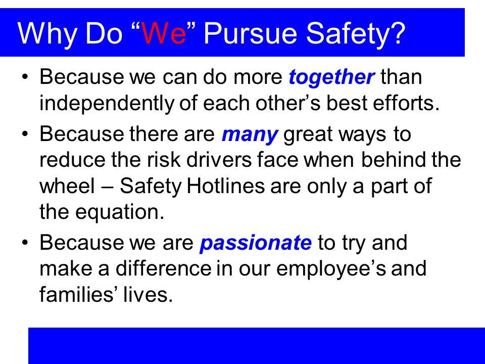 Why Do We Pursue Safety.