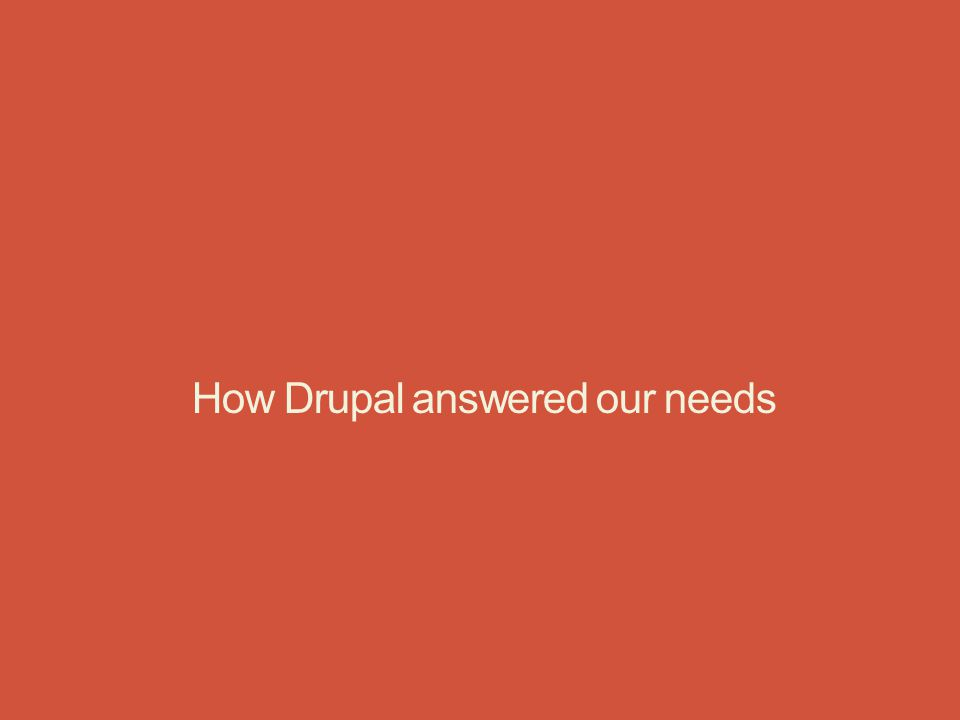 How Drupal answered our needs