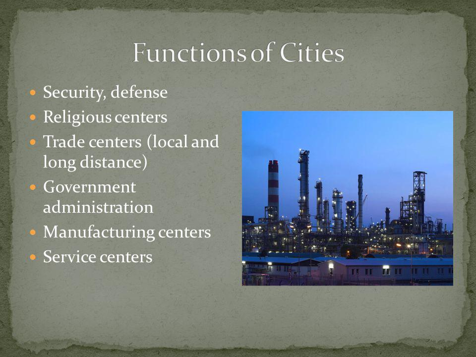 Security, defense Religious centers Trade centers (local and long distance) Government administration Manufacturing centers Service centers