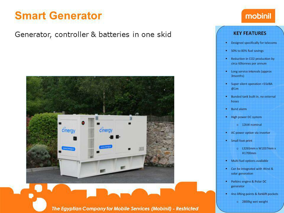 31 The Egyptian Company for Mobile Services (Mobinil) - Restricted Smart Generator Generator, controller & batteries in one skid