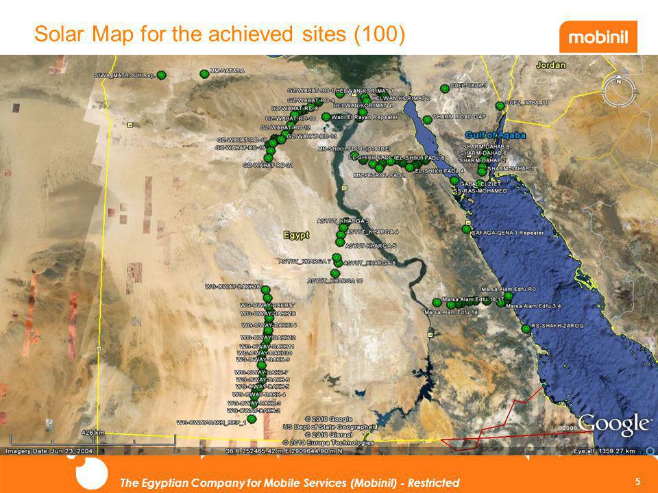 5 The Egyptian Company for Mobile Services (Mobinil) - Restricted Solar Map for the achieved sites (100)