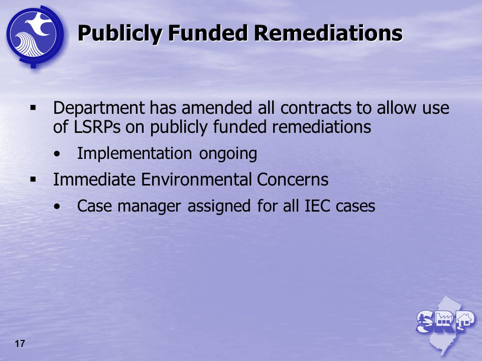 Department has amended all contracts to allow use of LSRPs on publicly funded remediations Implementation ongoing Immediate Environmental Concerns Cas