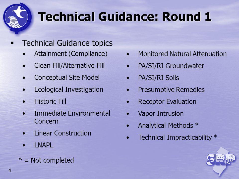 Technical Guidance: Round 1 Technical Guidance topics Attainment (Compliance) Clean Fill/Alternative Fill Conceptual Site Model Ecological Investigati