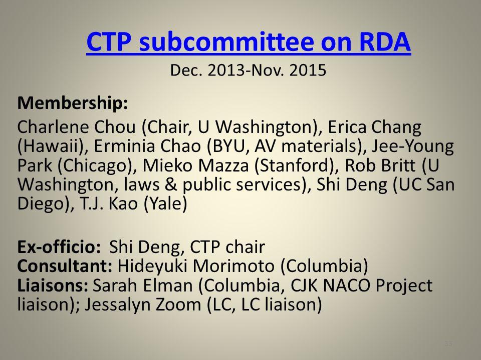 CTP subcommittee on RDA CTP subcommittee on RDA Dec.
