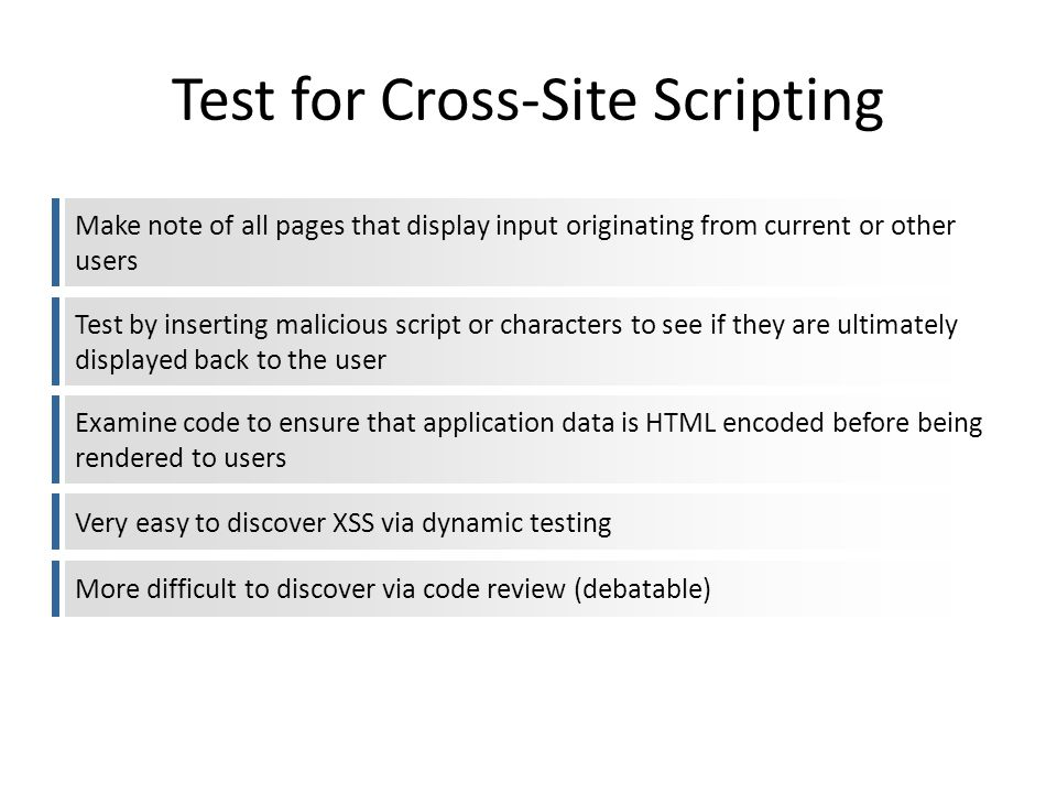 Test for Cross-Site Scripting Make note of all pages that display input originating from current or other users Test by inserting malicious script or