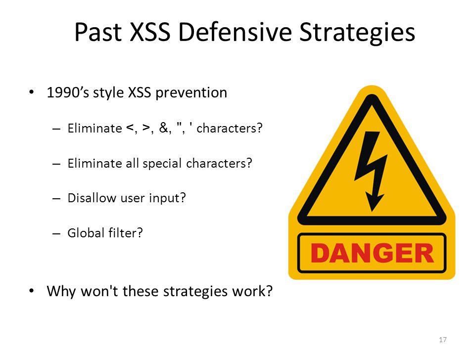 Past XSS Defensive Strategies 1990s style XSS prevention – Eliminate, &,