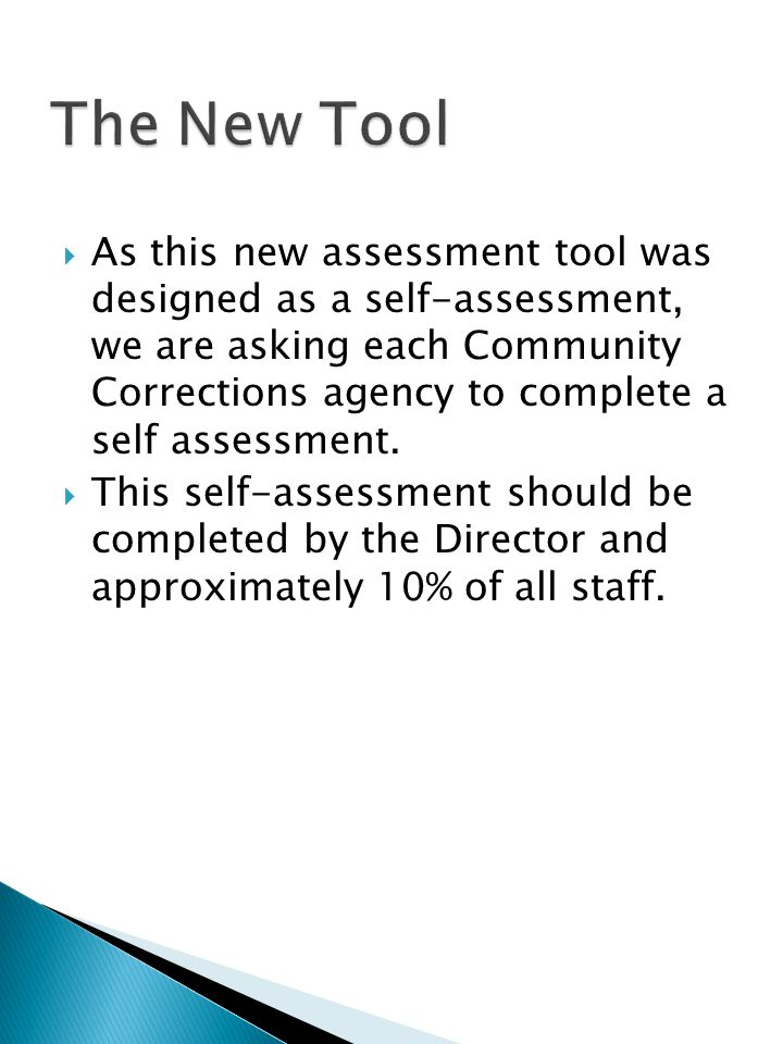 As this new assessment tool was designed as a self-assessment, we are asking each Community Corrections agency to complete a self assessment. This sel