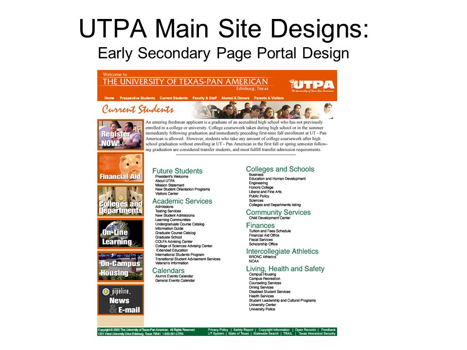 UTPA Main Site Designs: Early Secondary Page Portal Design