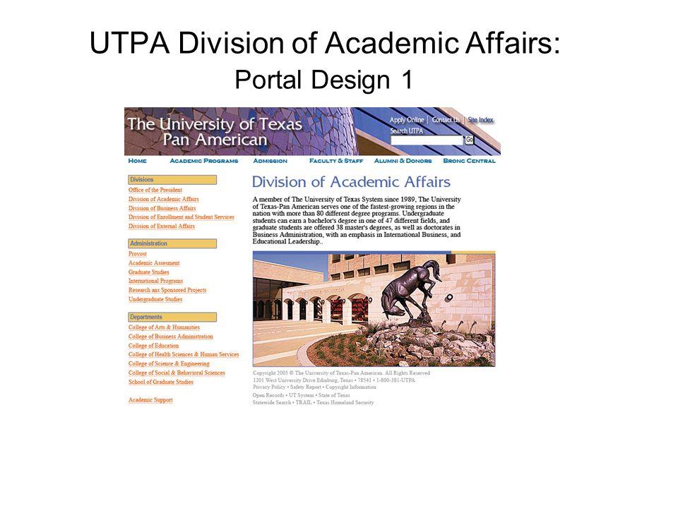 UTPA Division of Academic Affairs: Portal Design 1