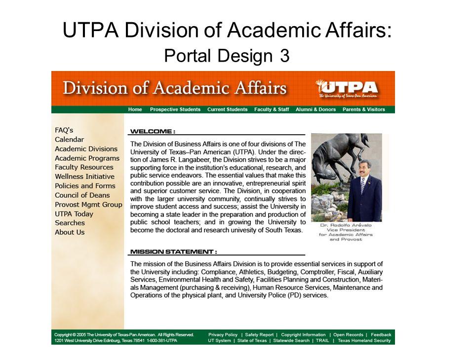 UTPA Division of Academic Affairs: Portal Design 3