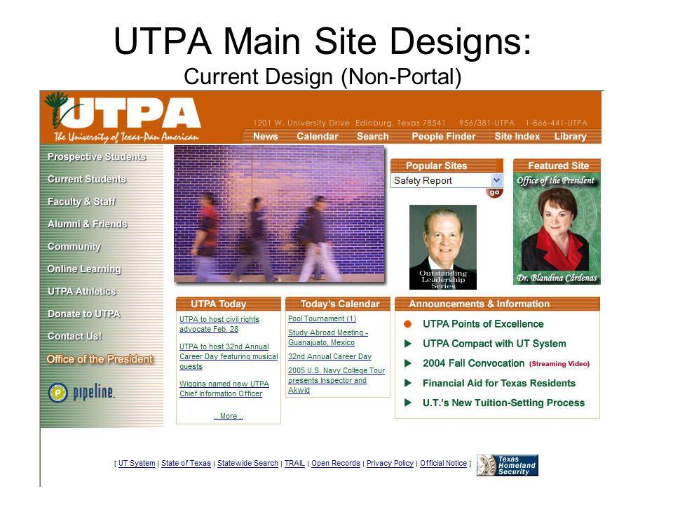 UTPA Main Site Designs: Current Design (Non-Portal)