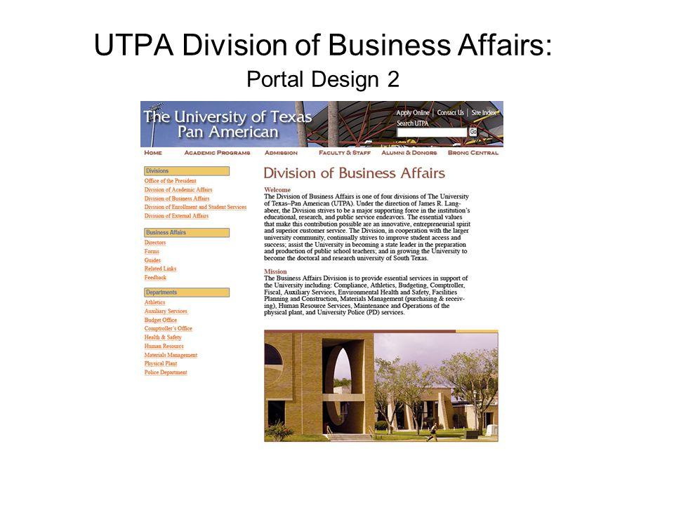 UTPA Division of Business Affairs: Portal Design 2