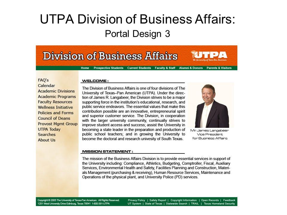 UTPA Division of Business Affairs: Portal Design 3