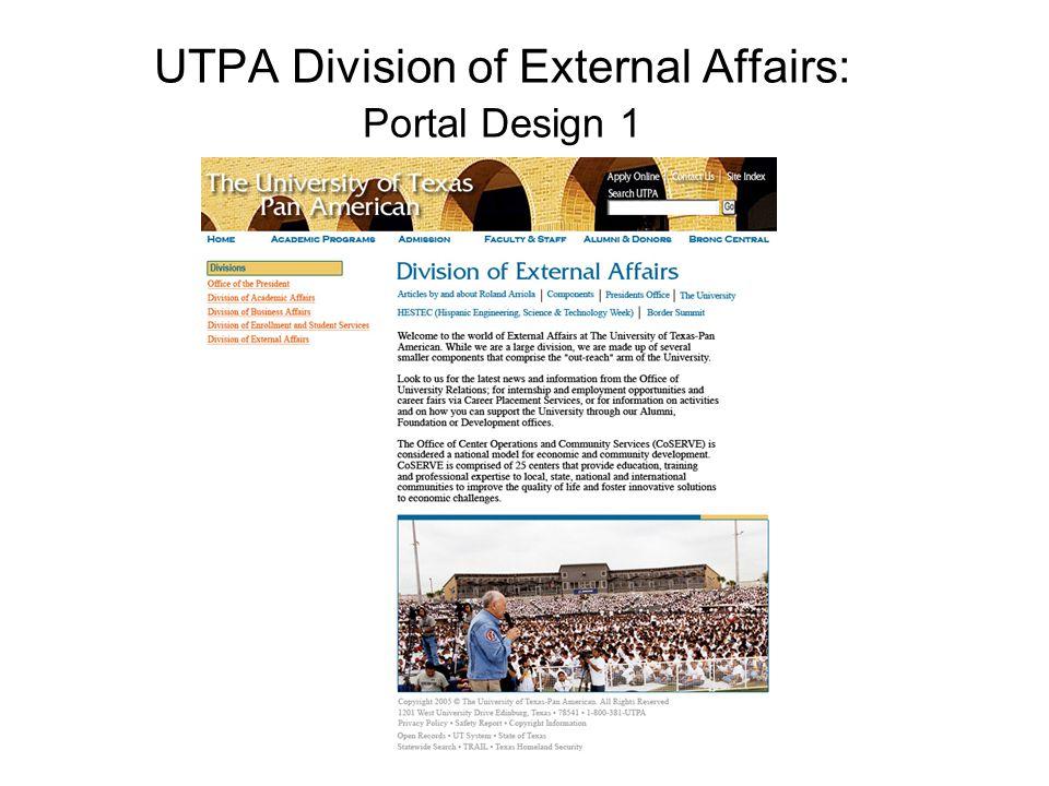 UTPA Division of External Affairs: Portal Design 1