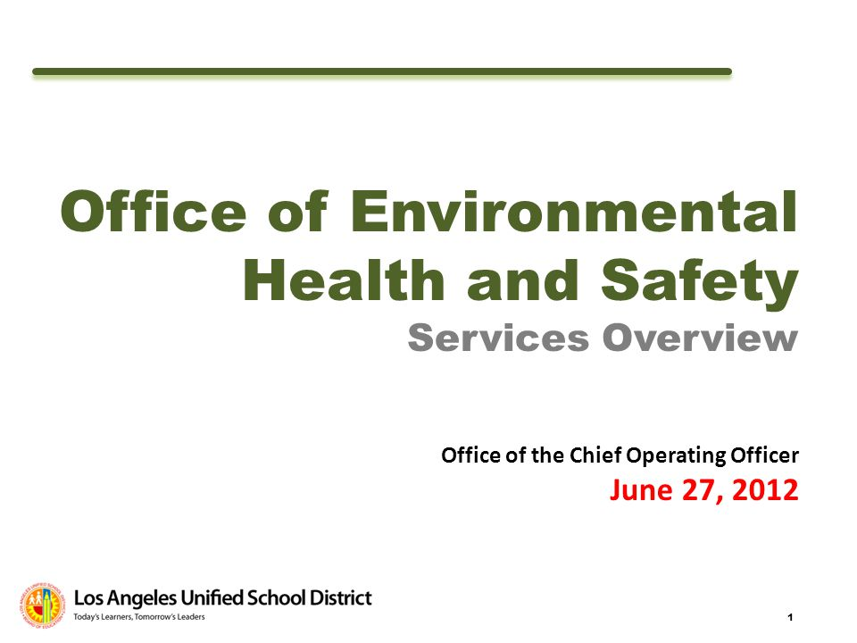 1 Office of Environmental Health and Safety Services Overview Office of the Chief Operating Officer June 27, 2012