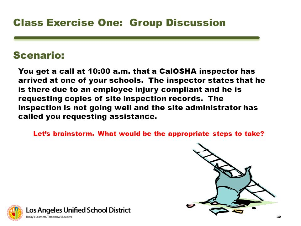 32 Class Exercise One: Group Discussion Scenario: You get a call at 10:00 a.m. that a CalOSHA inspector has arrived at one of your schools. The inspec