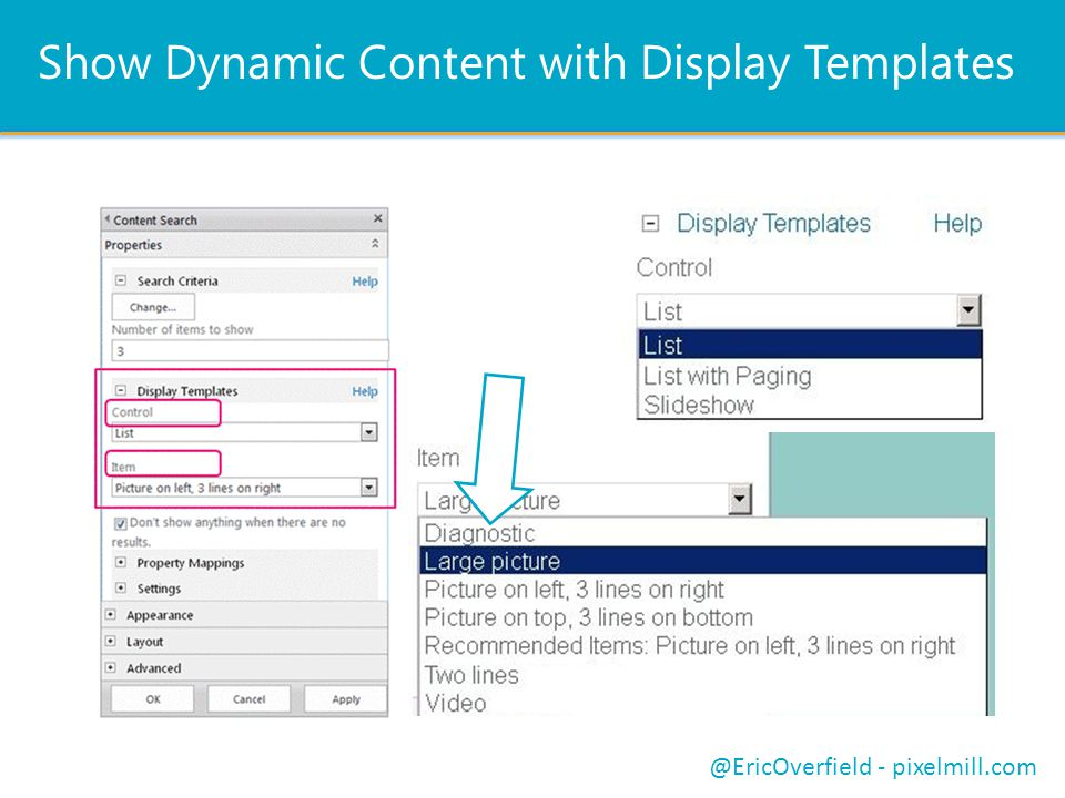 Push NotificationsLets See a Comparison Show Dynamic Content with Display Templates @EricOverfield - pixelmill.com