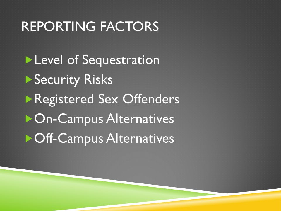 REPORTING FACTORS Level of Sequestration Security Risks Registered Sex Offenders On-Campus Alternatives Off-Campus Alternatives