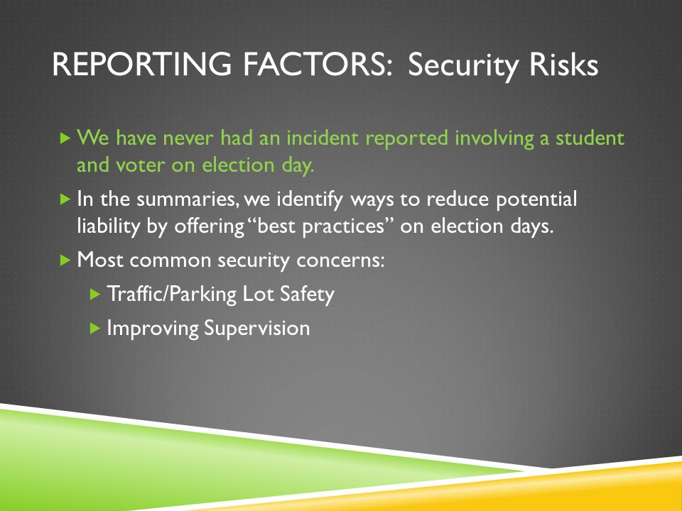 REPORTING FACTORS: Security Risks We have never had an incident reported involving a student and voter on election day. In the summaries, we identify