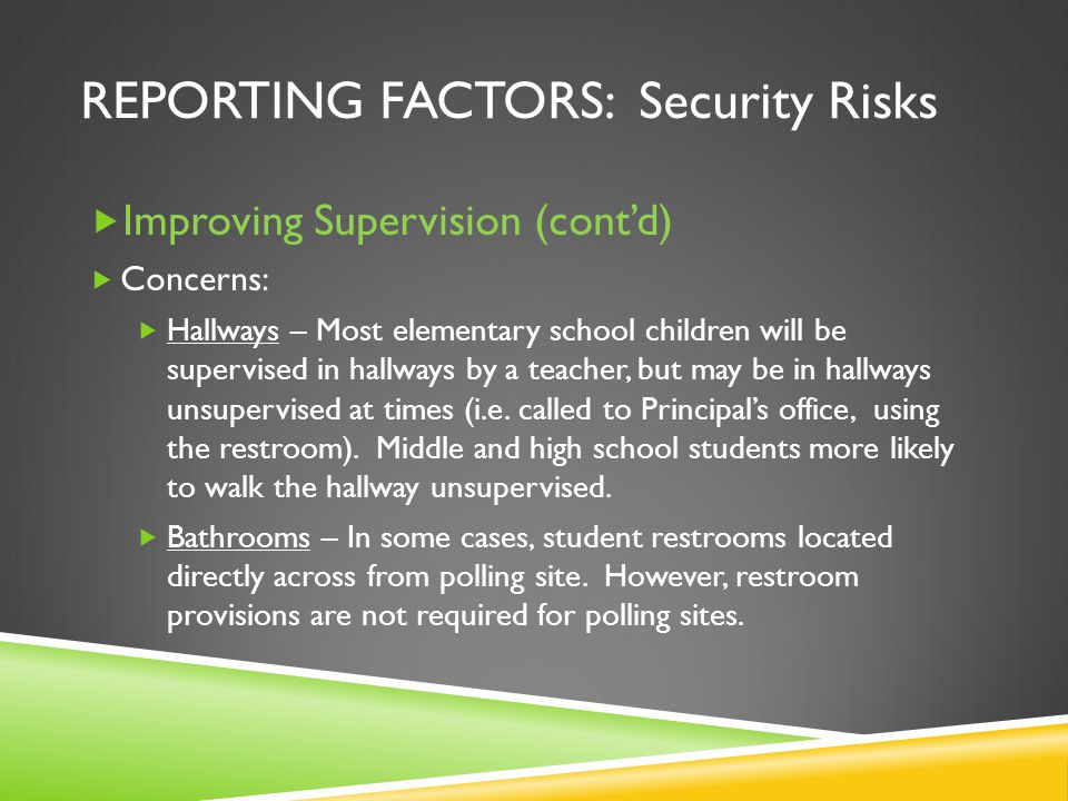 REPORTING FACTORS: Security Risks Improving Supervision (contd) Concerns: Hallways – Most elementary school children will be supervised in hallways by