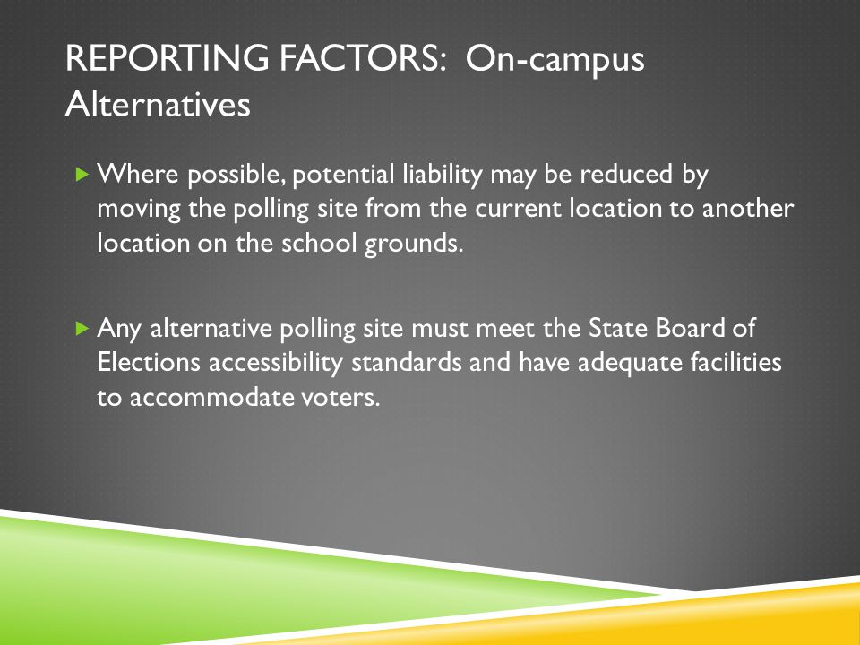 REPORTING FACTORS: On-campus Alternatives Where possible, potential liability may be reduced by moving the polling site from the current location to a