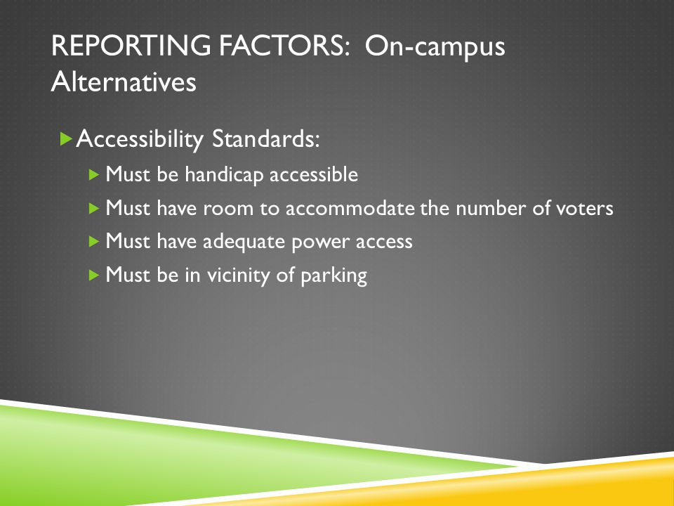 REPORTING FACTORS: On-campus Alternatives Accessibility Standards: Must be handicap accessible Must have room to accommodate the number of voters Must