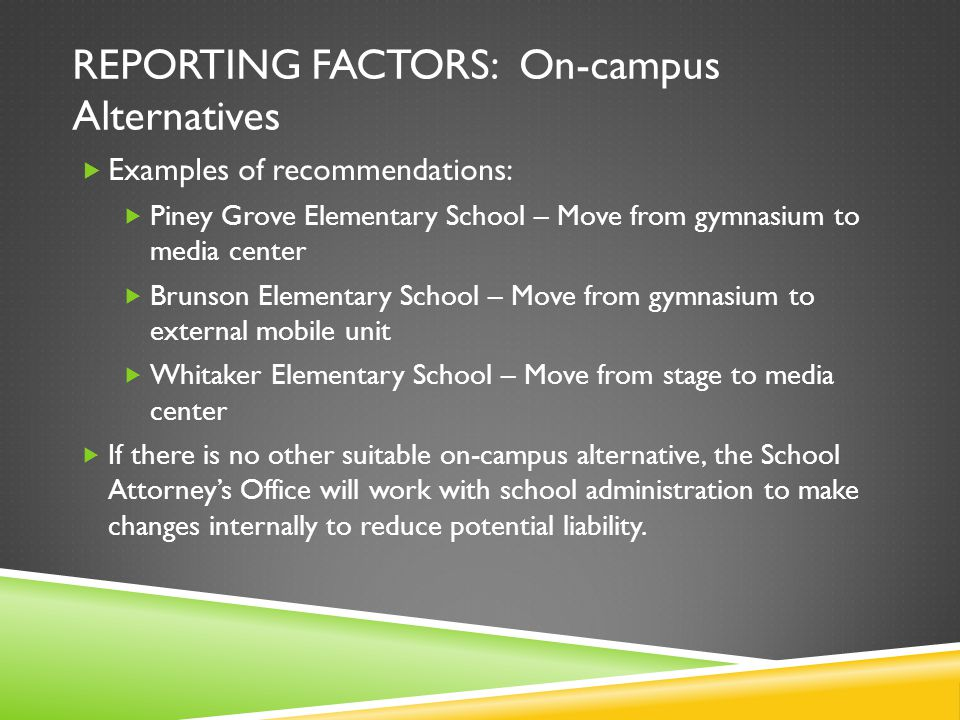 REPORTING FACTORS: On-campus Alternatives Examples of recommendations: Piney Grove Elementary School – Move from gymnasium to media center Brunson Ele