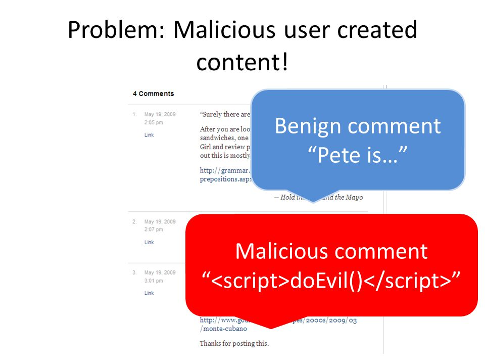 Problem: Malicious user created content! Benign comment Pete is… Malicious comment doEvil()
