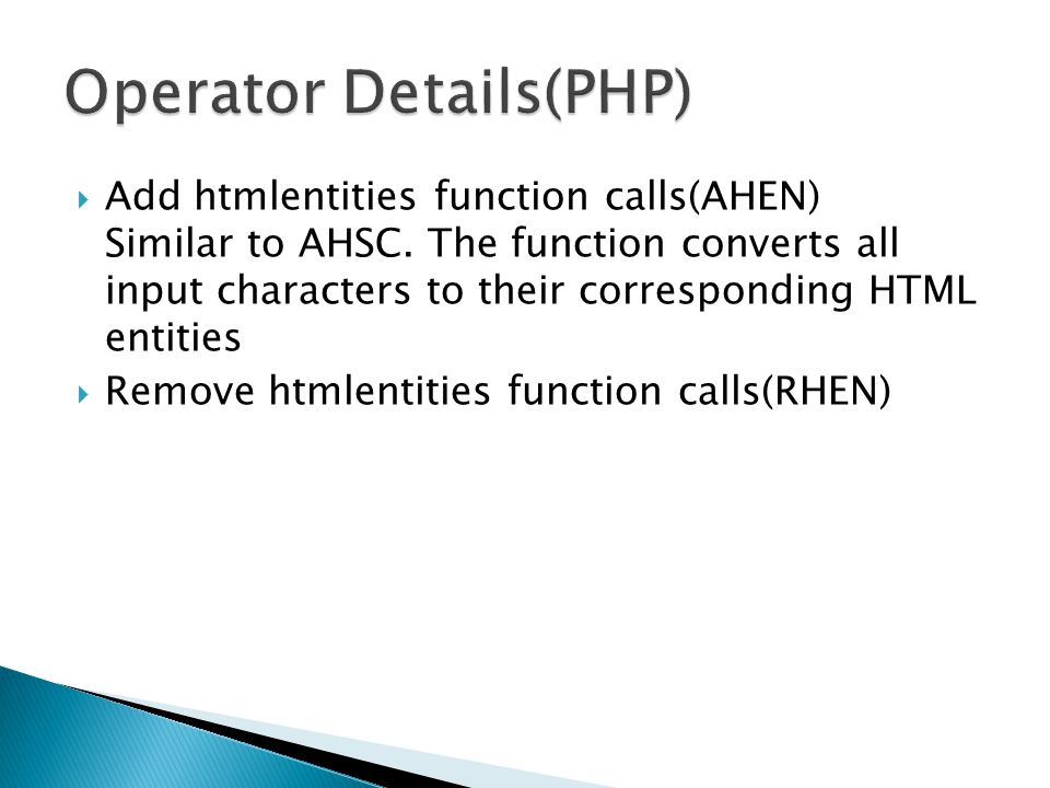 Add htmlentities function calls(AHEN) Similar to AHSC.