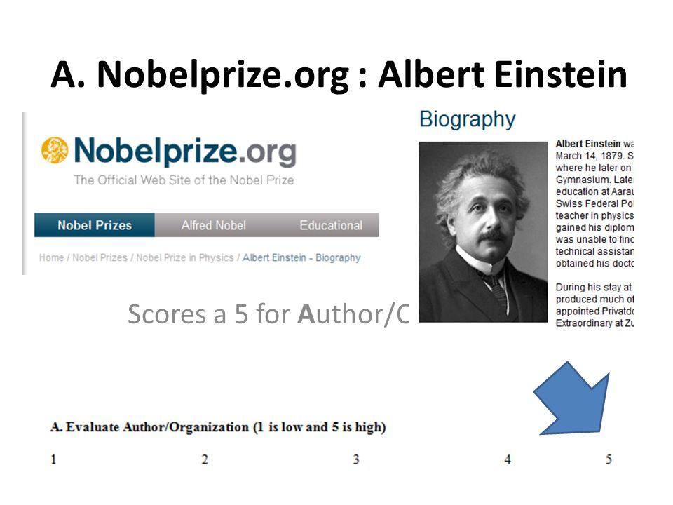 A. Nobelprize.org : Albert Einstein Scores a 5 for Author/Organization
