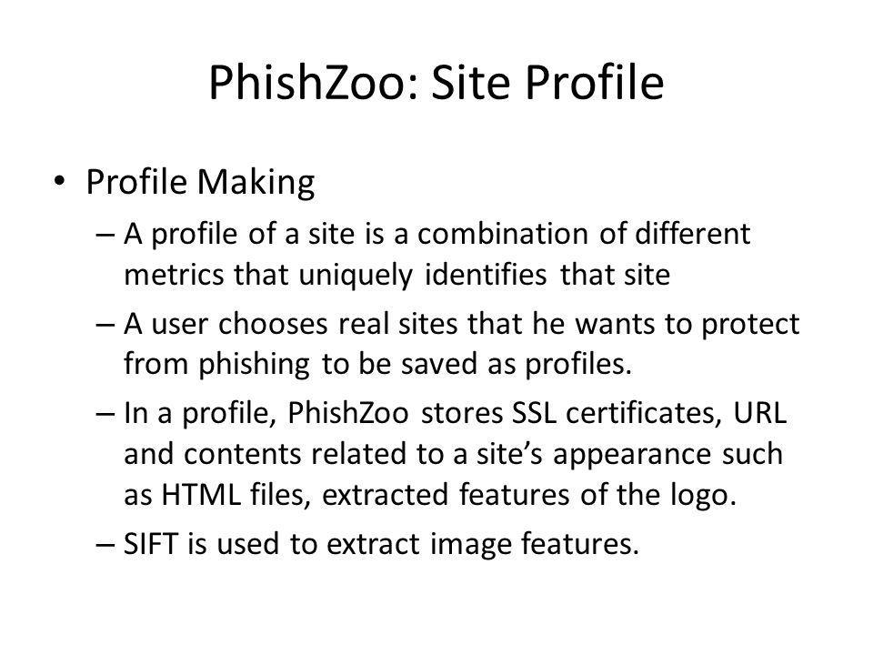 PhishZoo: Site Profile Profile Making – A profile of a site is a combination of different metrics that uniquely identifies that site – A user chooses
