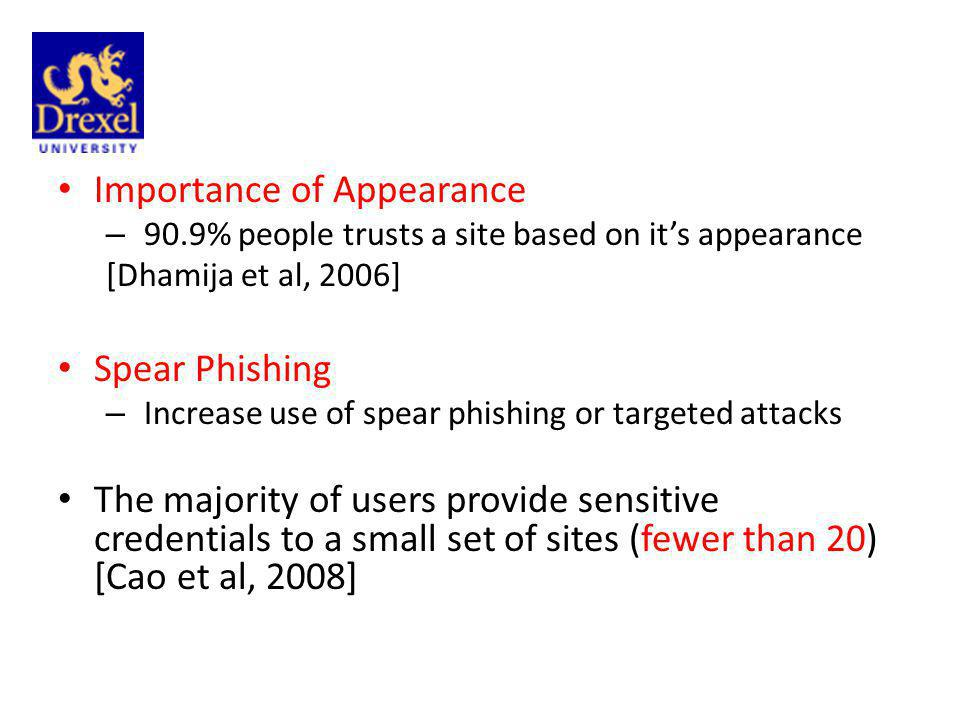 Importance of Appearance – 90.9% people trusts a site based on its appearance [Dhamija et al, 2006] Spear Phishing – Increase use of spear phishing or