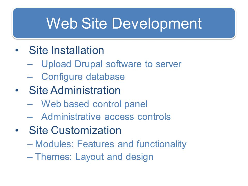 Web Site Development Site Installation –Upload Drupal software to server –Configure database Site Administration –Web based control panel –Administrative access controls Site Customization –Modules: Features and functionality –Themes: Layout and design
