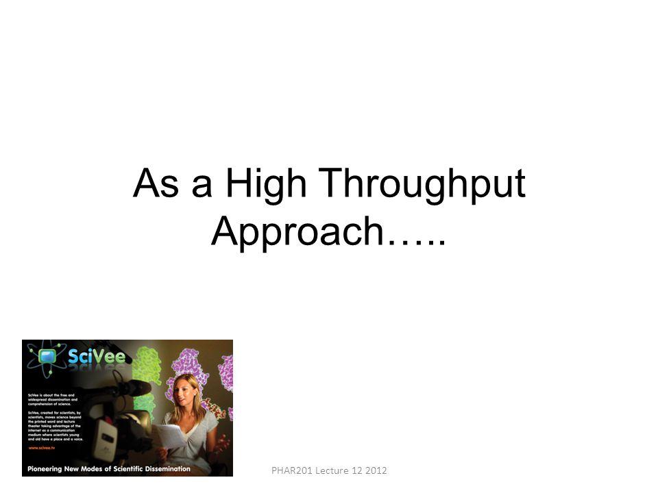 As a High Throughput Approach….. PHAR201 Lecture 12 2012