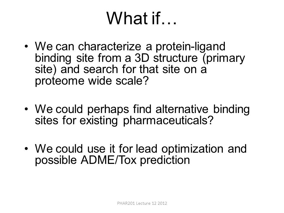 What if… We can characterize a protein-ligand binding site from a 3D structure (primary site) and search for that site on a proteome wide scale.