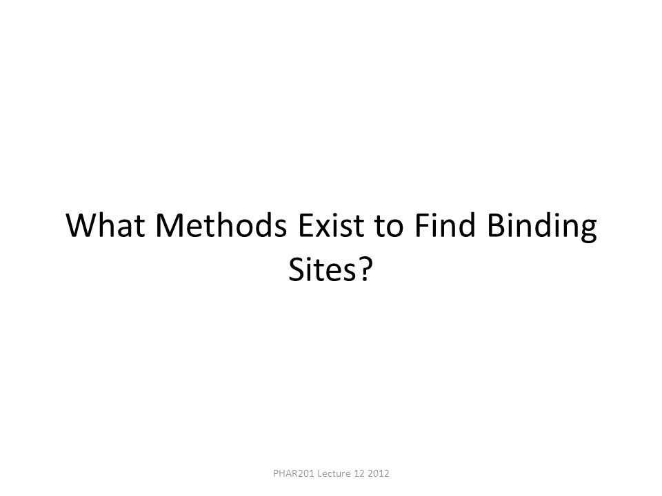 What Methods Exist to Find Binding Sites? PHAR201 Lecture 12 2012