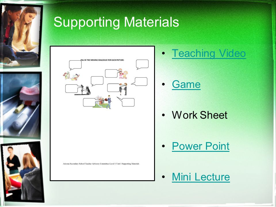 Supporting Materials Teaching Video Game Work Sheet Power Point Mini Lecture