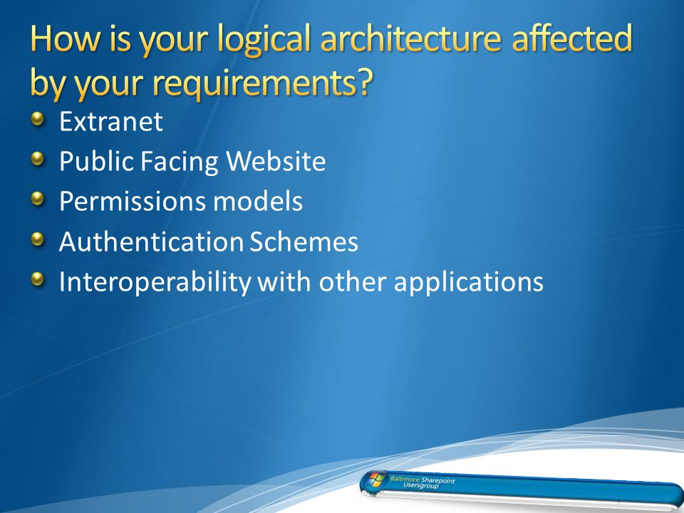 Extranet Public Facing Website Permissions models Authentication Schemes Interoperability with other applications 13