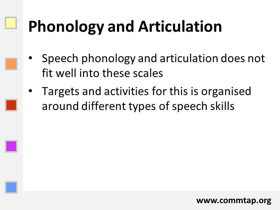 www.commtap.org Phonology and Articulation Speech phonology and articulation does not fit well into these scales Targets and activities for this is organised around different types of speech skills