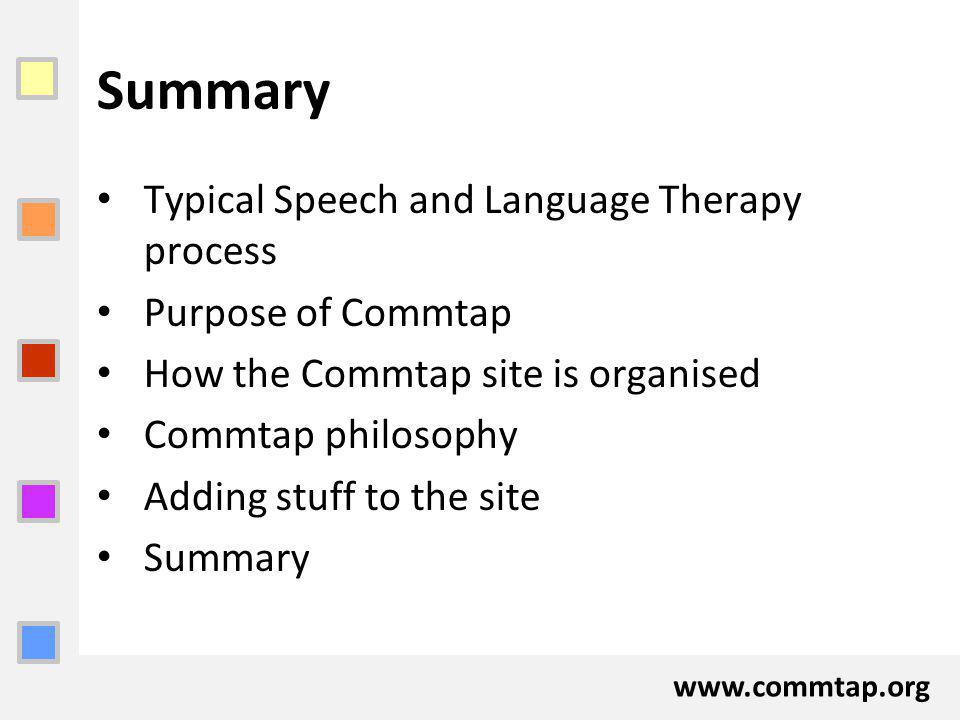www.commtap.org Summary Typical Speech and Language Therapy process Purpose of Commtap How the Commtap site is organised Commtap philosophy Adding stu
