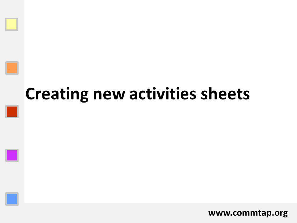 www.commtap.org Creating new activities sheets